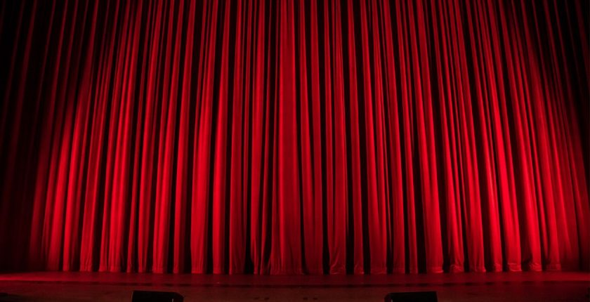 Red curtains in theatre